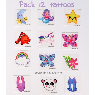 Pack 12 Kawaii Cute Temporary Tattoos