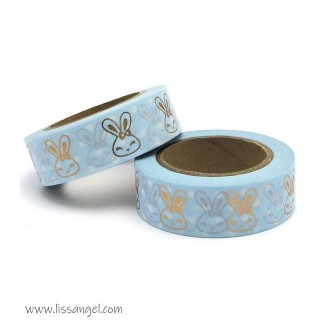 Metallic Gold Foil Kawaii Bunnies Washi Tape