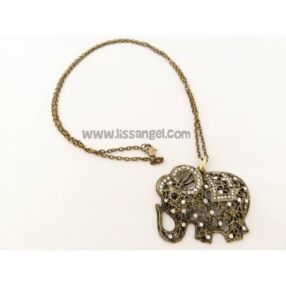 Elephant pendant with bright stones