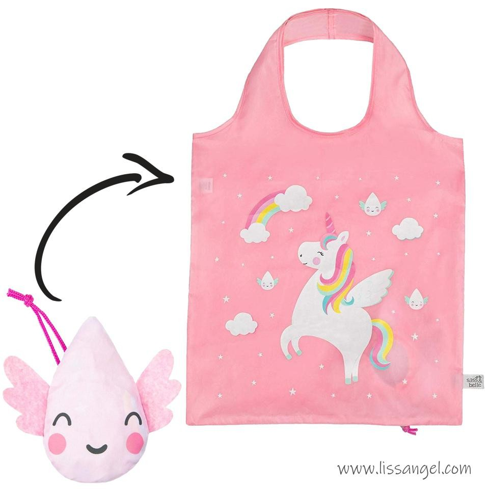 Foldable Unicorn And Raindrop Shopping Bag