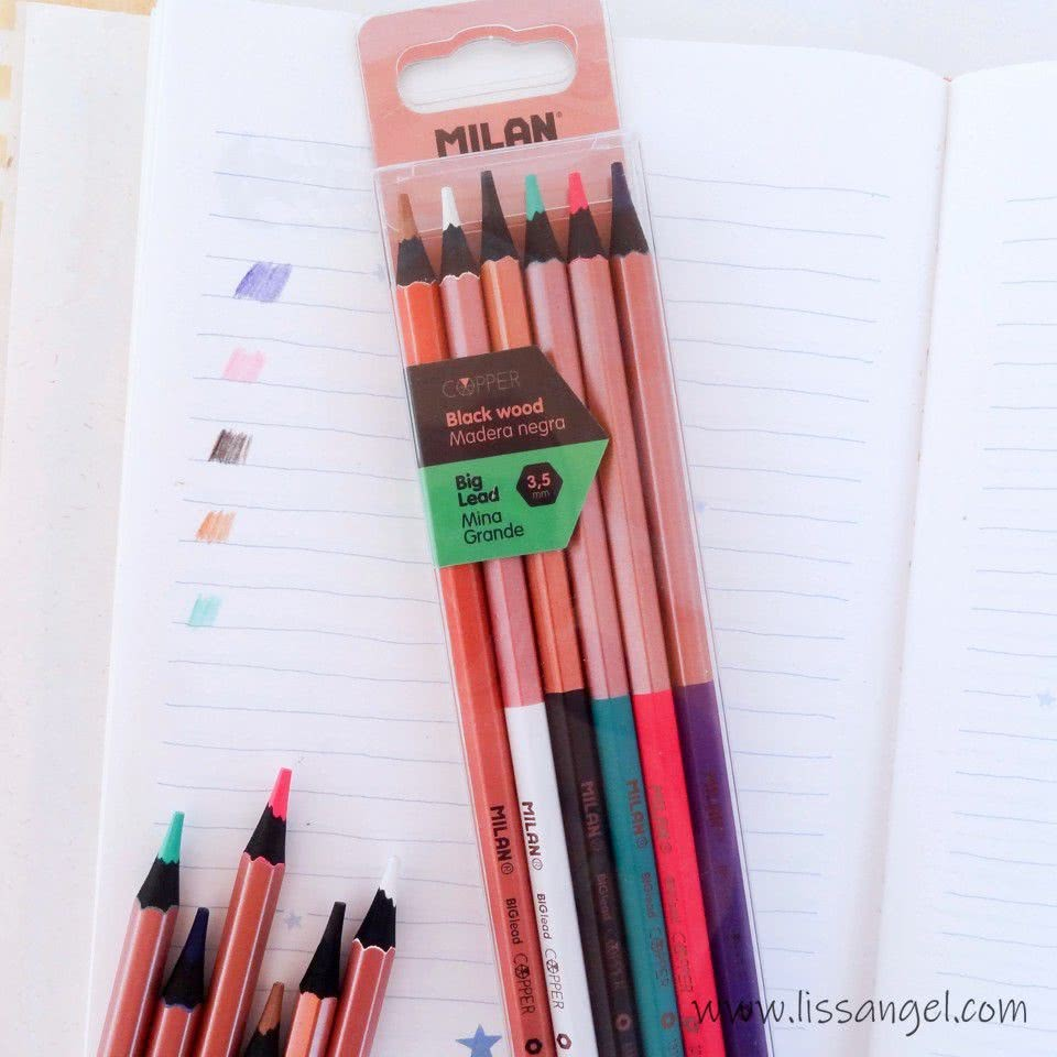 MILAN Copper Black Wood Colored Pencils (6 Units)