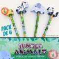 Pack 4 Pencils with erasers Jungle Animals