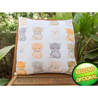 Drawings Cats Cushion Cover (Filling Optional)