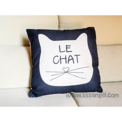 "Cat cushion cover ""Le Chat"" (Filling Optional)"