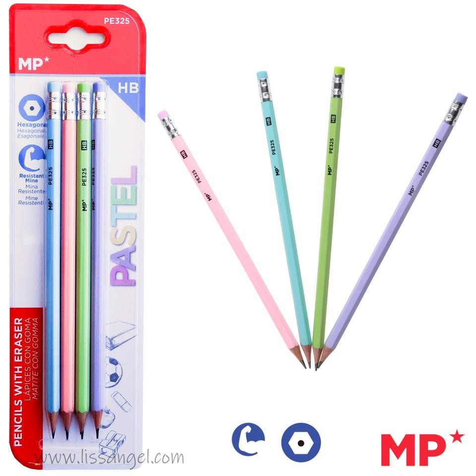 HB Graphite Pencils with Pastel Design - MP (Pack of 4)