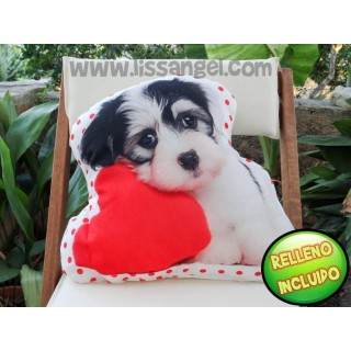 Dog with Heart Decorative Cushion (Filling included)