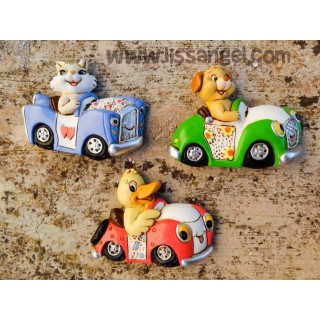 Animals in Cars Vintage Magnets (Unit)