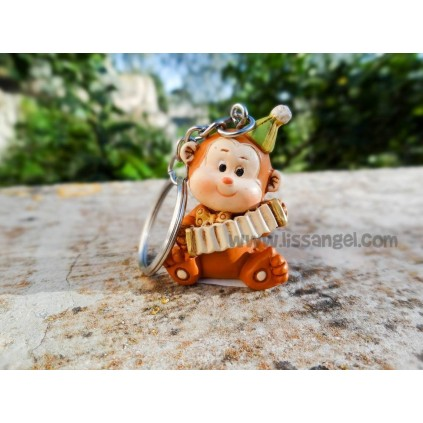 Musicians Monkeys Keyrings (Trumpeter, accordion, drums and guitar)