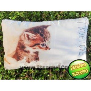"Rectangular Cat Cushion ""True Love"" (Filling included)"