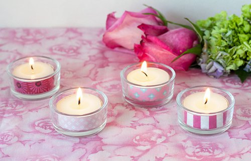 Decora velas con washi tape